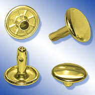 Doppel Calott Rivet, brass plated