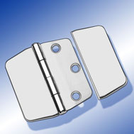 Scharniere 74 x 75 mit Abdeckung Covered Hinge, mirror polished stainless steel