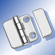 Scharniere 36 x 36 mit Abdeckung Covered Hinge, mirror polished stainless steel