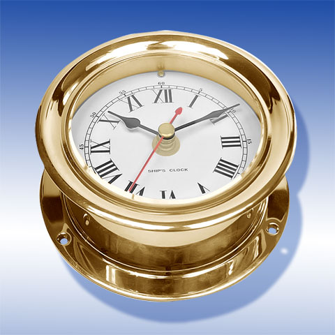 Uhr, Messing, blank, lackiert Clock, brass, polished, lacquered